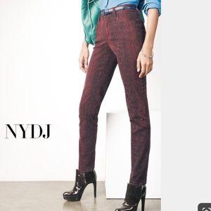 NYDJ Burgundy python jeans.